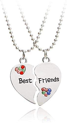 Mxdztu Co.,ltd Collar 1 par Half Love Heart Colgante Colorido Collar de Mejores Amigos Regalo de Amistad
