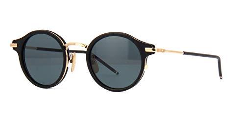 THOM BROWNE TB 807 Sunglasses A-T-BLK-GLD Matte Black12K Gold w/Dark Grey-AR