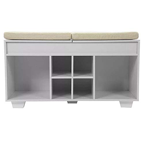 Madeinely - Zapatero de entrada con 6 estantes para calzado, acolchado, color natural, tamaño: 92,5 x 53,4 x 34 cm