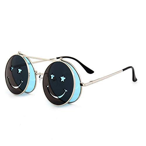 YXDEW Gafas de Sol Mujeres de los Hombres del Metal de Las Lentes Redonda Smiley Clamshell Gafas de Sol UV400,Gafas (Color : C5)