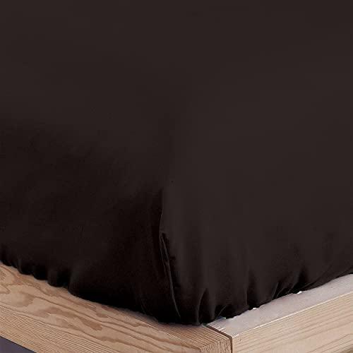 DALINA TEXTIL Sabanas Bajeras Ajustable para Cama de 90x190-200cm 100% Poliéster- Bajera Cama Barata Cómoda, de Tacto Suave y Cómodo. (Marrón)