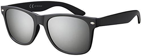 La Optica B.L.M. Herren Sonnenbrille UV400 CAT 3 Damen Unisex Retro Vintage - Matt Schwarz (Gläser: Silber Verspiegelt)