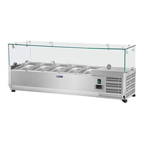 Royal Catering Kühltheke Kühlvitrine Kühlaufsatz RCKV-120/33-5 (120 x 33 cm, 35 L, für 5 x GN Behälter 1/4, 2-10 °C, 110 W, R600a, Thermostat, Glasabdeckung, Abtaufunktion, Edelstahl)