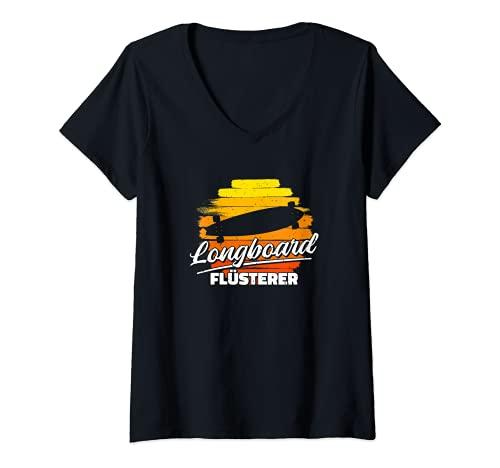 Damen Flüsterer Longboard Skateboard T-Shirt mit V-Ausschnitt