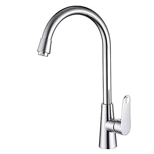 FTHOME Grifo mezclador de lavabo de cocina monomando palanca giratoria moderno solo grifo frío grifo de acero inoxidable con burbuja ahorro de energía