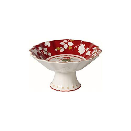 Villeroy & Boch Toy's Fantasy Schale auf Fuß klein, Schlittenfahrt, dekorative Standschale für Gebäck, Premium Porzellan, rot, bunt, 14,5 x 14,5 x 7,5 cm