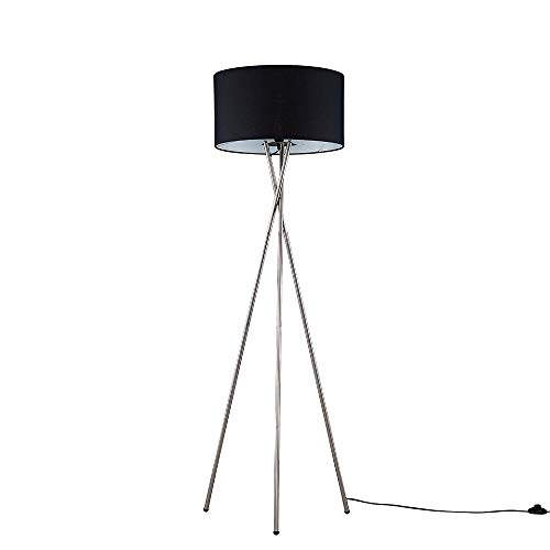 Modern Polished Chrome Metal Tripod Floor Lamp with a Black Lamp Drum Light Shade