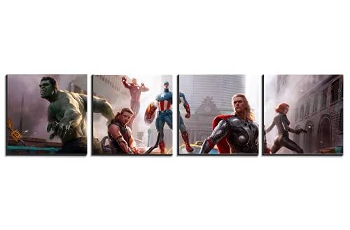 Cuadros Decorativos Pack de 4 Avengers Decoracion de Habitacion Infantil Medidas Cada Cuadro 20X20 cm