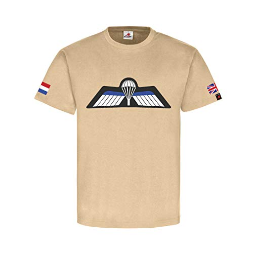 Dutch Parachutist Badge NL GB Nederlandse parachutejager Tshirt zand #31753