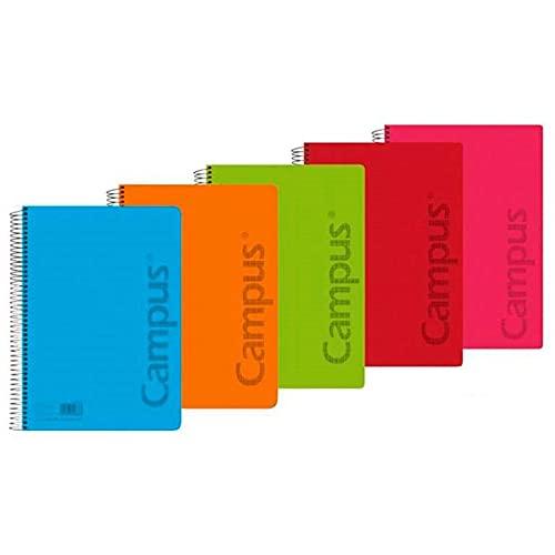 Pack 6 Cuadernos Libretas Espiral Tapa Plastico Polipropileno A5 90 gramos 80 Hojas Cuadricula Mela 3 milimetros