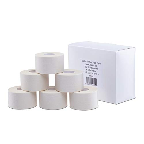 ZiATEC Cotton Athletic Sports Tape Premium - 10 metros | cinta adhesiva deportiva, vendaje de 3.8cm de ancho para fisioterapia, color:6 x blanco