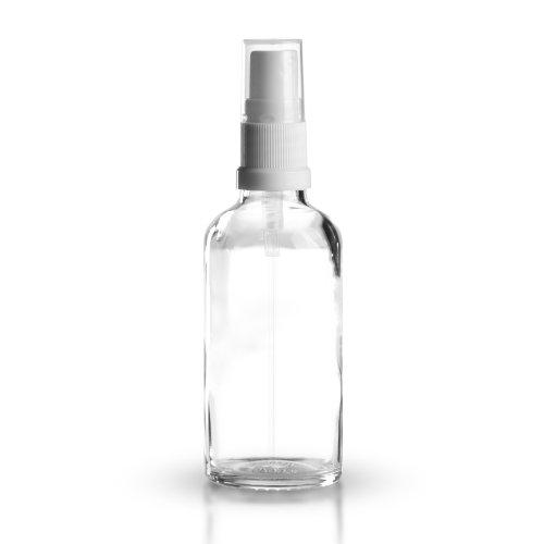 5 x Klarglasflaschen / Sprühflaschen 50 ml inkl. Pumpzerstäuber / Sprühkopf weiss DIN 18 mit transparenter Schutzkappe / Klarglasflasche / Klarglas / Sprühflasche / Zerstäuber / Spraykopf *Apothekenqualität, gefertigt nach dem Europäischen Arzneibuch*