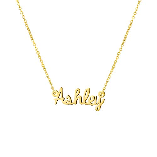 Jewelry for Name Necklace Big Initial Gold Plated Best Friend Women Gift for Her Ashley