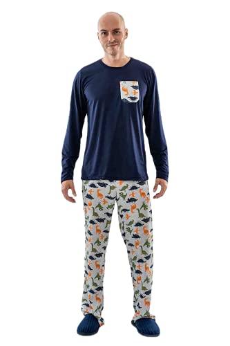 Pijama Masculino Dinossauro Adulto Longo de Malha - Mania Pijamas