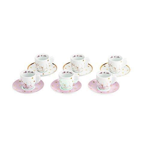 THUN ® 6er Set Espressotassen - Linie Angel Gold - Porzellan - 100 ml - Ø 6,5 cm