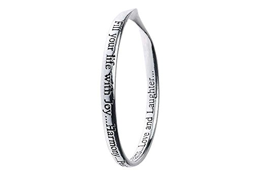 Rue B Fill Your Life. Quote Bangle, Fill Your Life with Joy.Harmony.Peace.Dreams.Love and Laughter