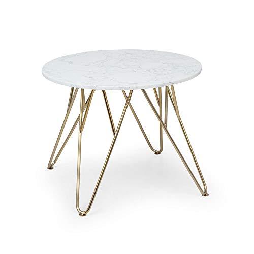 Besoa Round Pearl Mesa para el sillón - Mesa Auxiliar, Redonda, 55 x 45 cm, Soporte de mármol Blanco, Hecho en Metal con Todos Dorados y Blancos