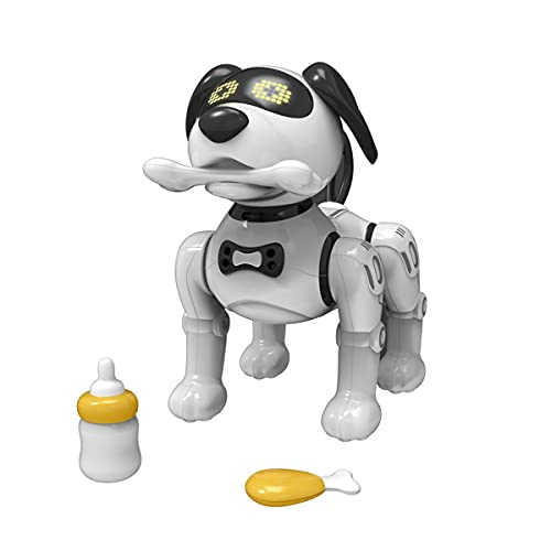NEW Interactive Robot Dog Remote Control Pet –Teddi The Robotic Intelligent Dancing Singing Talking Walking Puppy RC Robo Kids Toy with Magnetic Bone Food and Bottle