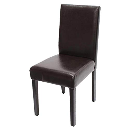 Mendler Esszimmerstuhl Littau, Küchenstuhl Stuhl, Kunstleder - braun, dunkle Beine