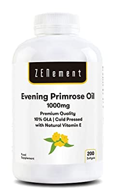 Evening Primrose Oil with Vitamin E  1000mg x 200 softgels   Premium Quality, Cold Pressed, 10% GLA   Good for Women's Nutrition and Healthy Skin and Bones   100% Natural  Zenement