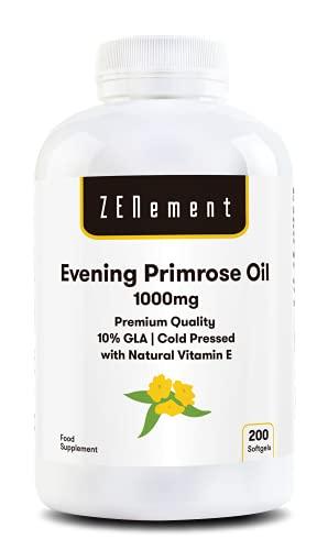 Aceite de Onagra con Vitamina E | 1000 mg x 200 perlas| Calidad Premium, Prensado en frío, 10% GLA | Equilibrio hormonal de las mujeres | Salud de piel y huesos | 100% Natural | de Zenement
