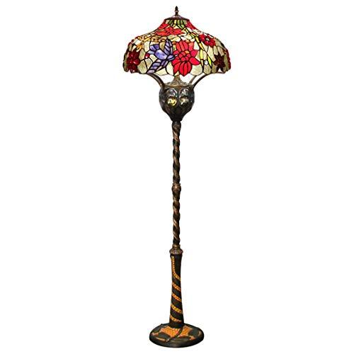 LLGBD lámpara de pie, Tiffany Diseño Vidrieras Tiffany American Rural Creativo Lámpara De Pie Sala De Estar Comedor Dormitorio Showroom 22 Pulgadas