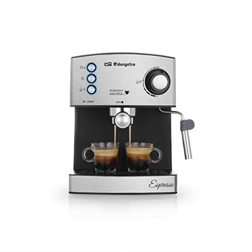 Orbegozo EX 3050 Cafetera espresso con bomba italiana de 20 bares de presión, frontal de acero inoxidable, 850 W, 2 cups, Negro mate