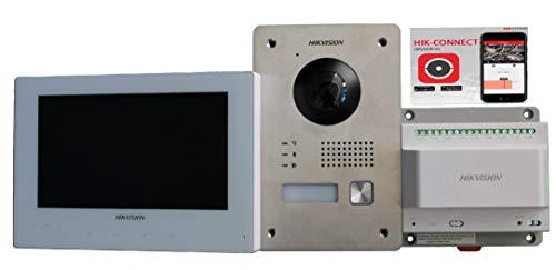 DS Hikvision - Kit de videoportero Mono de 2 Cables, Monitor Blanco de 7 Pulgadas, Llamada en Pantalla y Smartphone, Ampliable a 9 Dispositivos