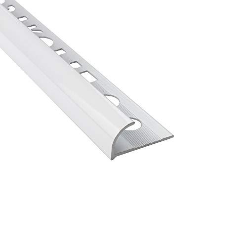 Alu Viertelkreis Profil Fliesenschiene eloxiert, pulverbeschichtet, gebürstet L270cm H10mm weiss