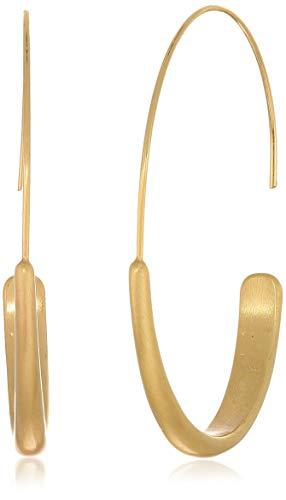 Lucky Brand Women's Brushed Gold Modern Hoop Earrings, One Size