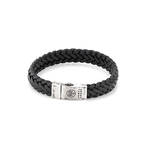 Rebel and Rose Silver Line Braided Raw Mat Armband RR-L0076-S-M (Lengte: 16.50-18.00 cm)