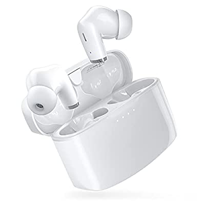 Wireless Earbuds, E90 Bluetooth Earbuds Built-in Dual-Mic Stereo/Deep Bass/Type-C Fast Charge/Touch Control/IPX8 Waterproof/Low Latency/White In-Ear Wireless Earphones for Business, Travels, Sports from Soundlife