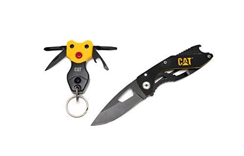 CATERPILLAR Klappmesser mit LED Schlüsselanhänger | Taschenmesser | Outdoormesser