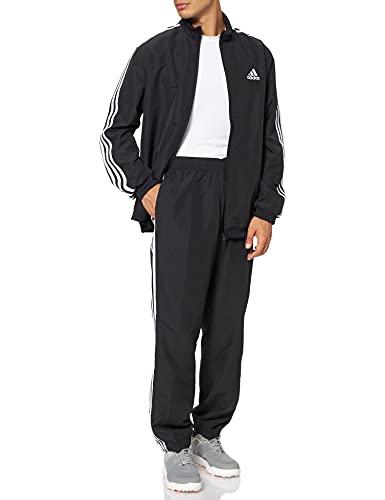 adidas Herren AEROREADY Essentials Regular-Fit 3-Streifen Trainingsanzug, Black/White, 5