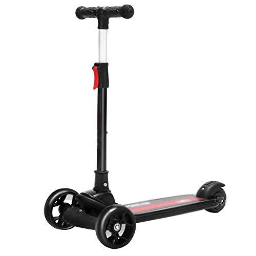 Patinetes para niños Scooter Plegable, Llantas Que Parpadea de PU, el Scooter de los niños es Ajustable en Altura, Alto Rendimiento de Carga, Durante 3-12 años (Color : Black)