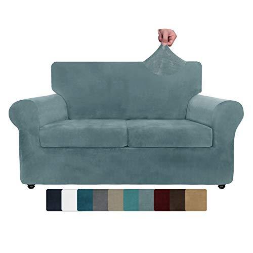 ZNSAYOTX Funda de sofá de Terciopelo de Lujo Fundas de sofá elásticas de 3 Piezas para sofá de 2 Cojines Funda de sofá de Dos plazas (Azul Piedra, sofá de Dos plazas)