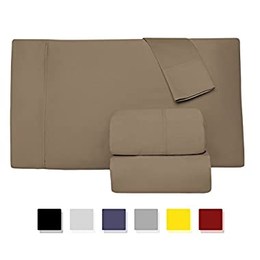 Comfy Sheets Luxury 100% Egyptian Cotton - Genuine 1000 Thread Count 4 Piece Sheet Set-Fits Mattress Up to 18'' Deep Pocket (Queen, Taupe)