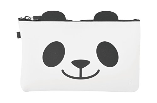 P+G Design NUU Soft Silicone Panda Cosmetic Pouch Makeup Travel Bag Purse - Authentic Japanese Design - Durable Quality
