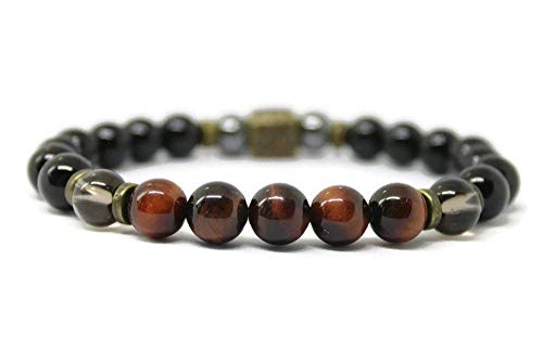 Unisex Gemstone Wellness Bracelet for Positive Energy/Crystal Healing/Anti Anxiety/Stress Relief with Black Onyx, Smokey Quartz, Red Tigers Eye, Hematite and Antique Copper or Bronze Beads