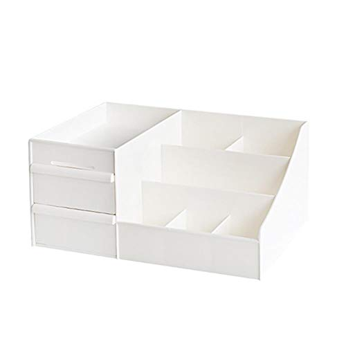 Torey-1 caja de almacenamiento tipo cajón, cosméticos para el dormitorio o para el escritorio con acabado de la piel, estante de plástico (35 x 21,5 x 16 cm)