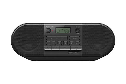 Panasonic RX-D500 Powerful & Portable CD Radio with Sound Booster, FM, 20W - Black