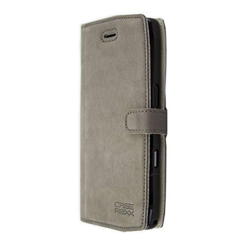 caseroxx Handy Hülle Tasche kompatibel mit Crosscall Trekker-X4 Bookstyle-Hülle Wallet Hülle in grau