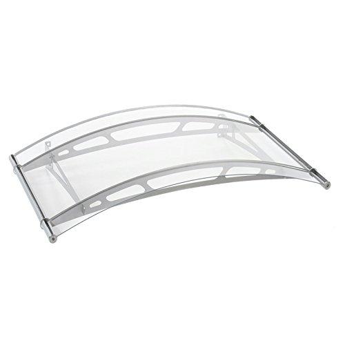 Schulte Vordach 148x91 cm Haustür Überdachung Edelstahl rostfrei Acrylglas Durchgehend und Transparent Rundbogen LT-Line