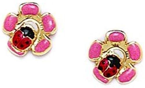 14Karat GelbGold Emaille Marienk r Blaume Ohrringe Mit Schraubverschluss   8 8  JewelryWeb