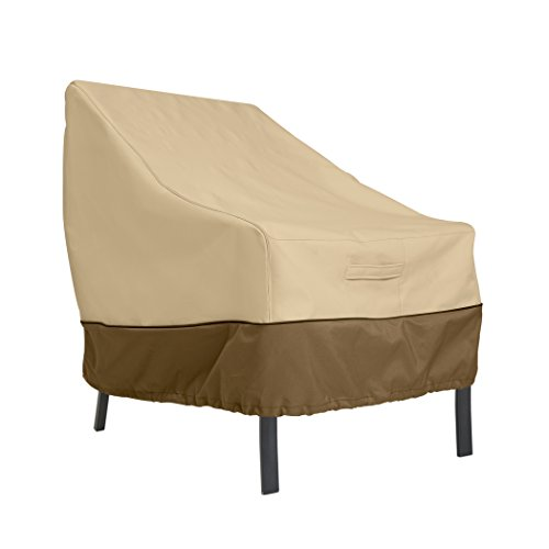 Classic Accessories Veranda Waterproof Patio Lounge Chair Cover, Heavy Duty Outdoor Patio Furniture Covers with Air Vent and Attachment Strap, 35L x 38D x 31H inch, Pebble