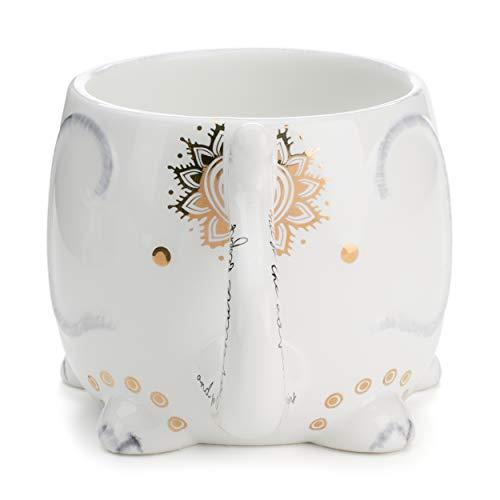 Tri-coastal Design - Tasse à thé en céramique réutilisable - Tasse à café ou à thé Chaude et Originale - Thème des Animaux (Elefante)