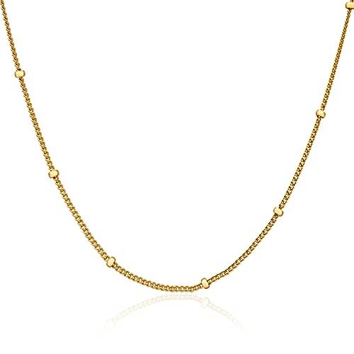 WILD SUN Choker Halskette mit Kugeln Gold Damen |Enge Kette ohne Anhänger für Frauen | Hochwertige Kurze Kügelchen Goldkette aus 316 Edelstahl mit 18K vergoldet