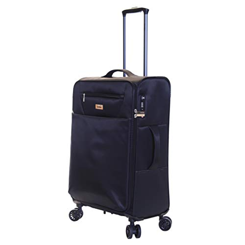 Karabar Medium Large Suitcase Luggage Bag Ultra Lightweight 66 cm 2.2 kg 60 litres Soft Shell with 4 Spinner Wheels and Integrated TSA Number Lock, Piccadilly Black