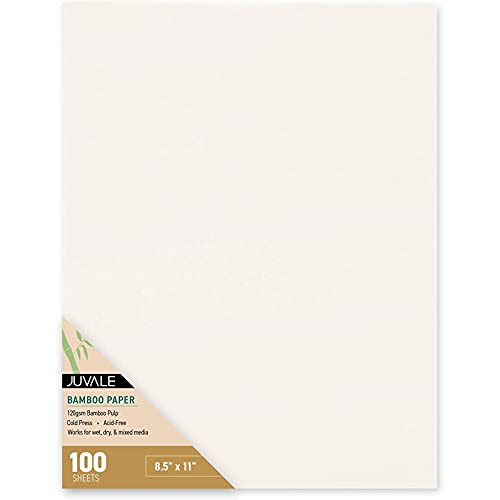 100 Cold Press Bamboo Paper Sheets for Mixed Media, Drawing, Painting (8.5 x 11 in)