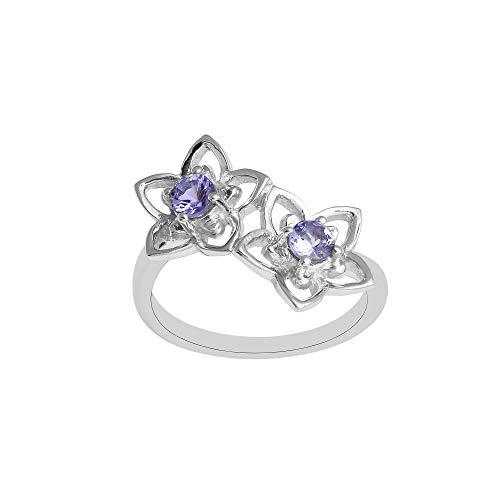 Shine Jewel Anillo de plata de ley 925 de diseño floral con hermosas gemas de tanzanita de corte redondo. para mujer
